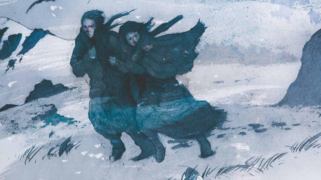 Il·lustració parella en mig d'una nit de tempesta de neu